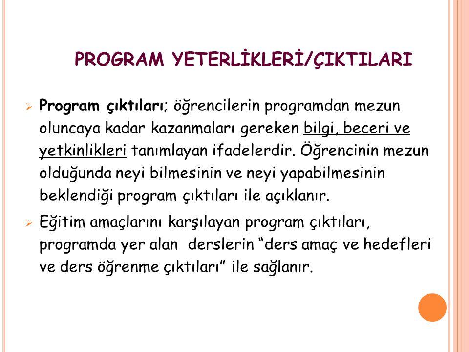 PROGRAM YETERLİKLERİ/ÇIKTILARI