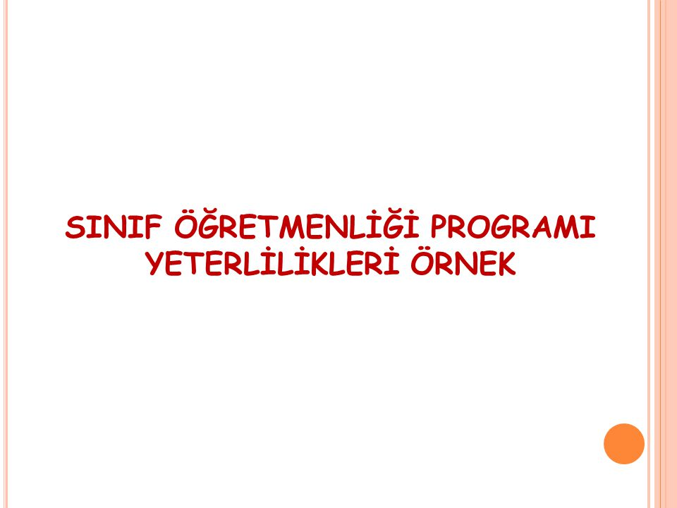 SINIF ÖĞRETMENLİĞİ PROGRAMI