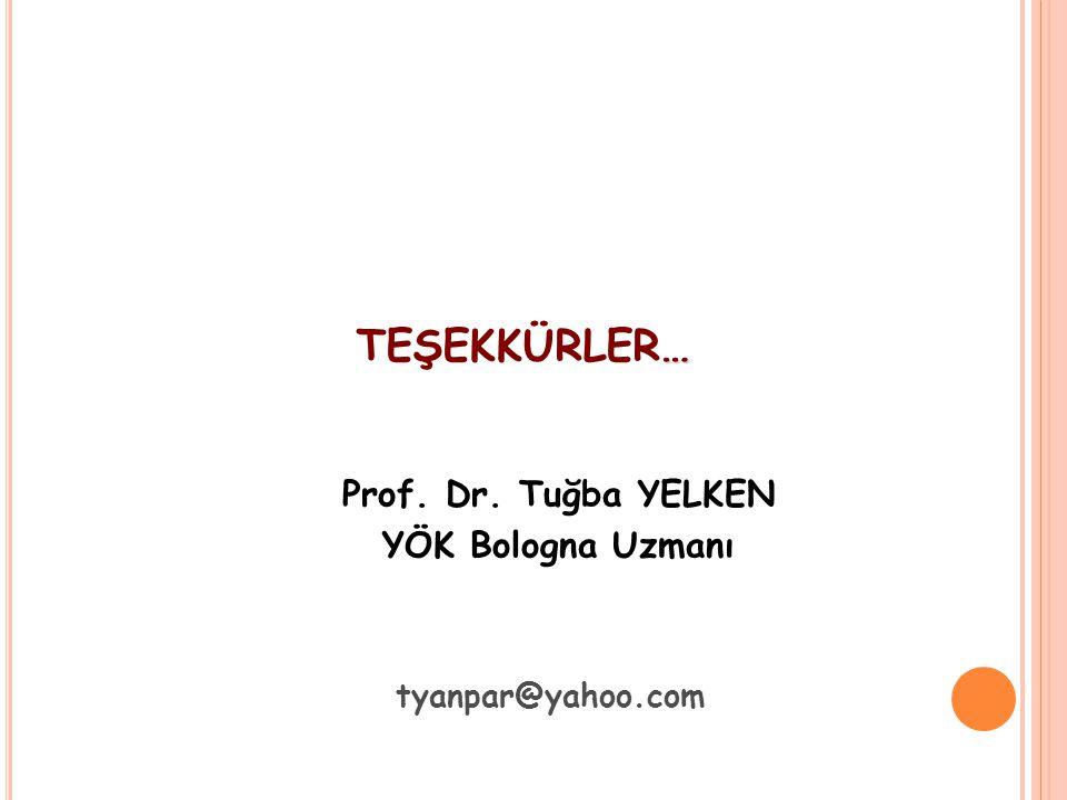 TEŞEKKÜRLER… Prof. Dr. Tuğba YELKEN YÖK Bologna Uzmanı