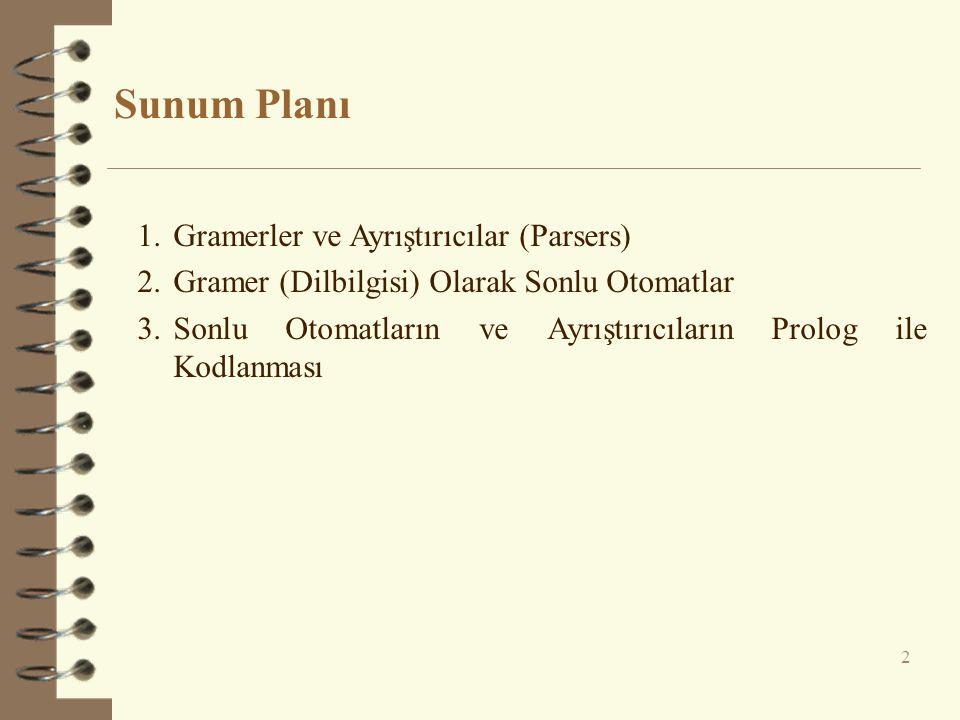 Sunum Planı Gramerler ve Ayrıştırıcılar (Parsers)