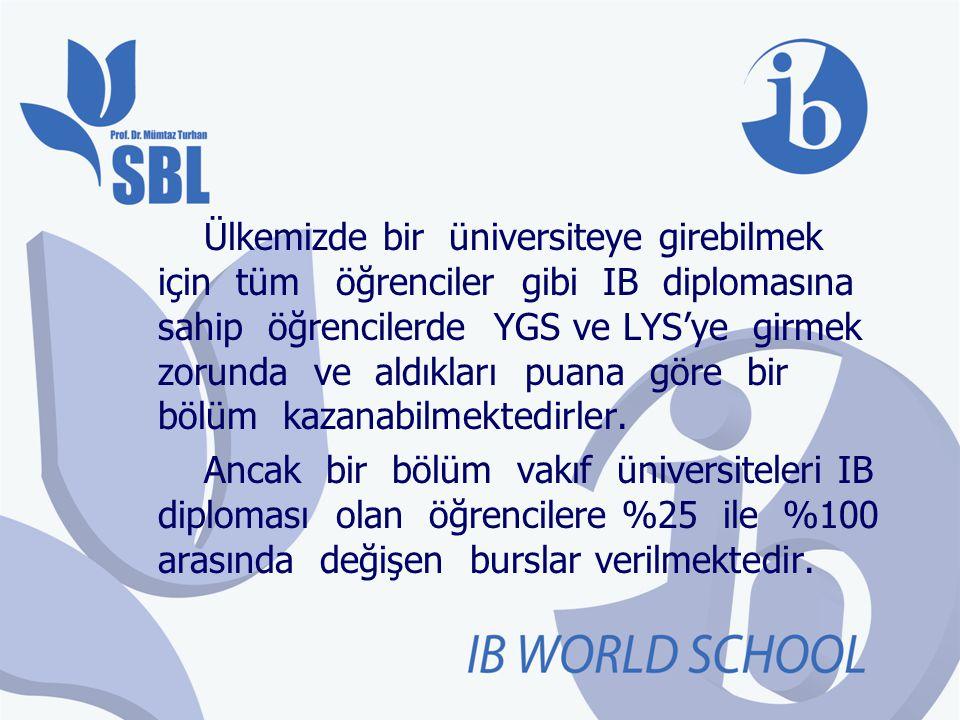 Ülkemizde bir üniversiteye girebilmek için tüm öğrenciler gibi IB diplomasına sahip öğrencilerde YGS ve LYS'ye girmek zorunda ve aldıkları puana göre bir bölüm kazanabilmektedirler.