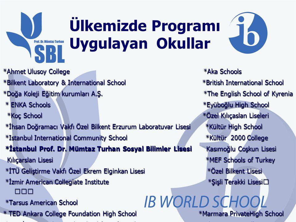 Ülkemizde Programı Uygulayan Okullar