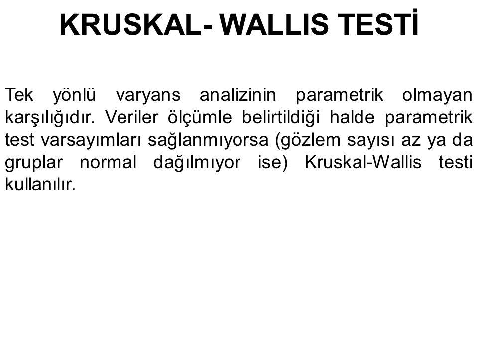 KRUSKAL- WALLIS TESTİ