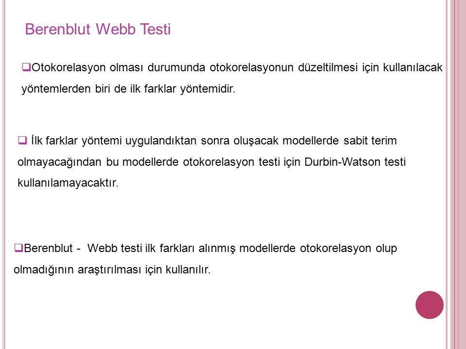 Berenblut Webb Testi Otokorelasyon olması durumunda otokorelasyonun düzeltilmesi için kullanılacak yöntemlerden biri de ilk farklar yöntemidir.