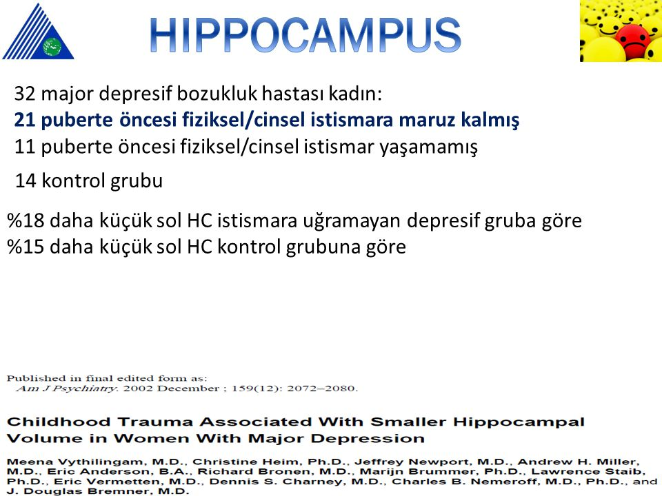 HIPPOCAMPUS 32 major depresif bozukluk hastası kadın: