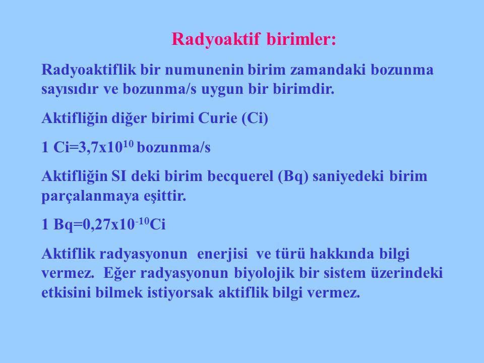 Radyoaktif birimler: Radyoaktiflik bir numunenin birim zamandaki bozunma sayısıdır ve bozunma/s uygun bir birimdir.