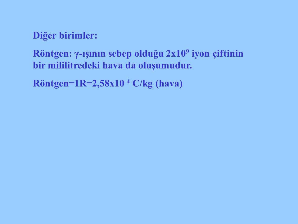 Diğer birimler: Röntgen: γ-ışının sebep olduğu 2x109 iyon çiftinin bir mililitredeki hava da oluşumudur.