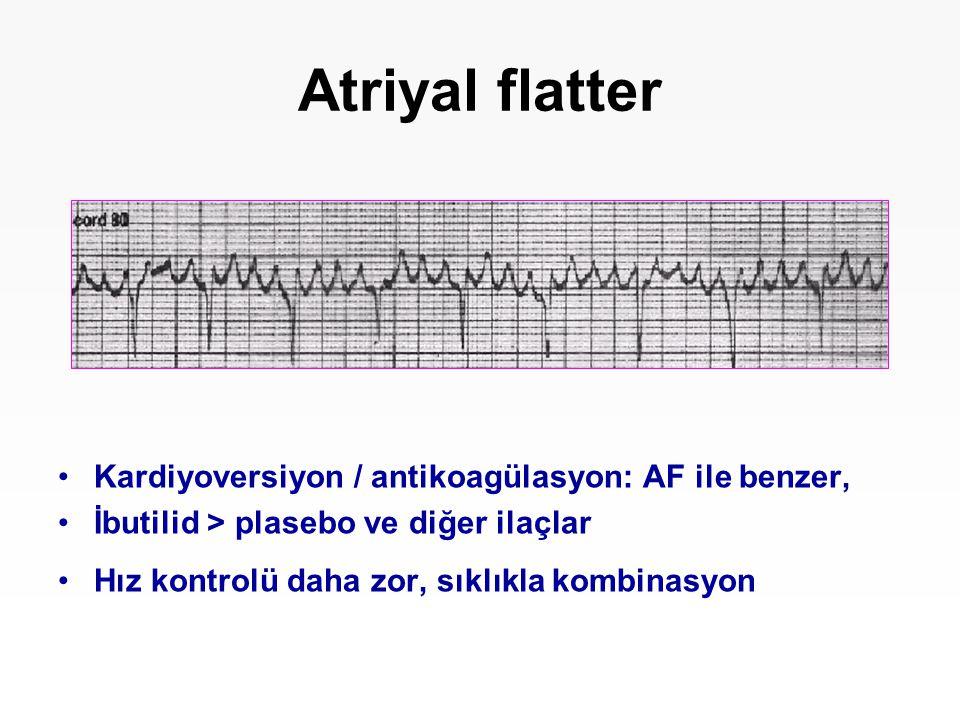Atriyal flatter Kardiyoversiyon / antikoagülasyon: AF ile benzer,