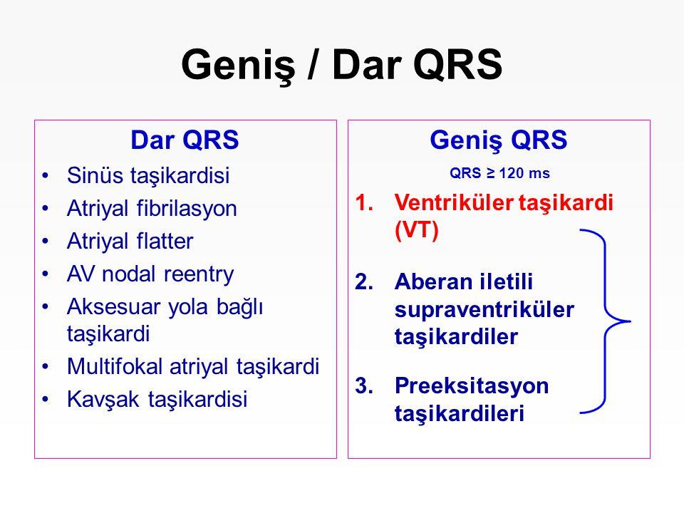 Geniş / Dar QRS Dar QRS Geniş QRS Sinüs taşikardisi