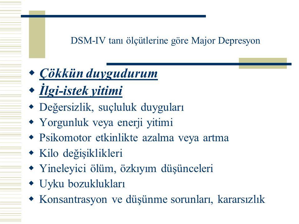 DSM-IV tanı ölçütlerine göre Major Depresyon