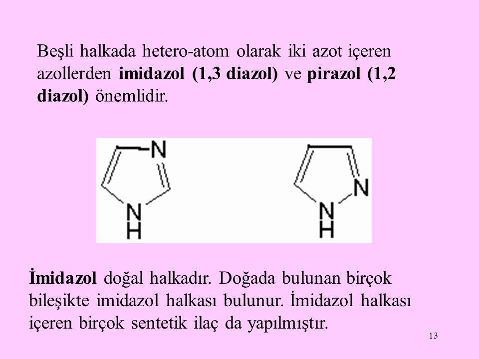 Beşli halkada hetero-atom olarak iki azot içeren azollerden imidazol (1,3 diazol) ve pirazol (1,2 diazol) önemlidir.