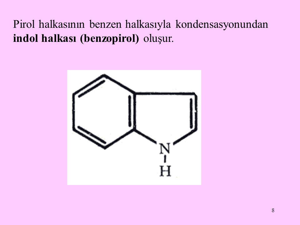 Pirol halkasının benzen halkasıyla kondensasyonundan indol halkası (benzopirol) oluşur.