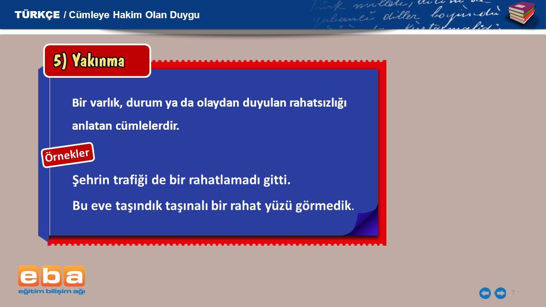TÜRKÇE / Cümleye Hakim Olan Duygu