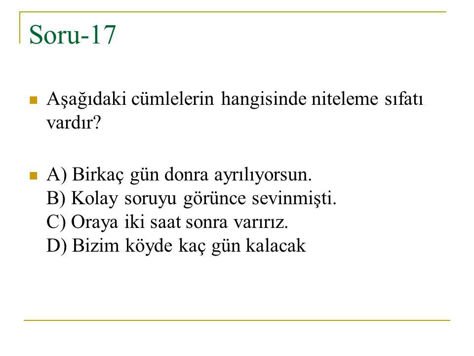 Soru-17 Aşağıdaki cümlelerin hangisinde niteleme sıfatı vardır