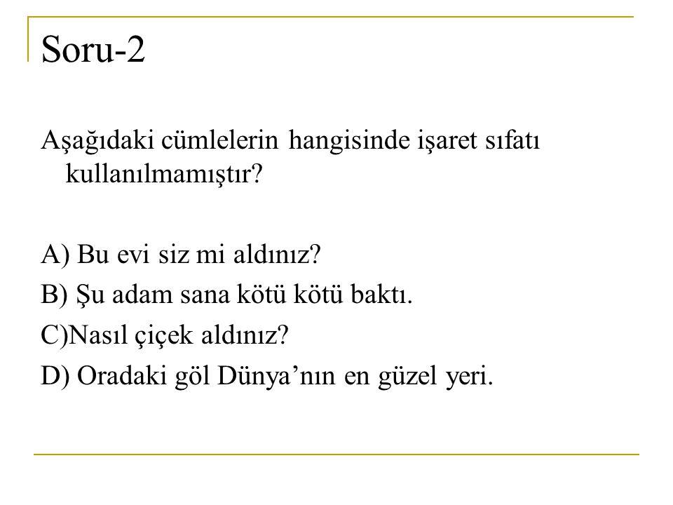 Soru-2 Aşağıdaki cümlelerin hangisinde işaret sıfatı kullanılmamıştır