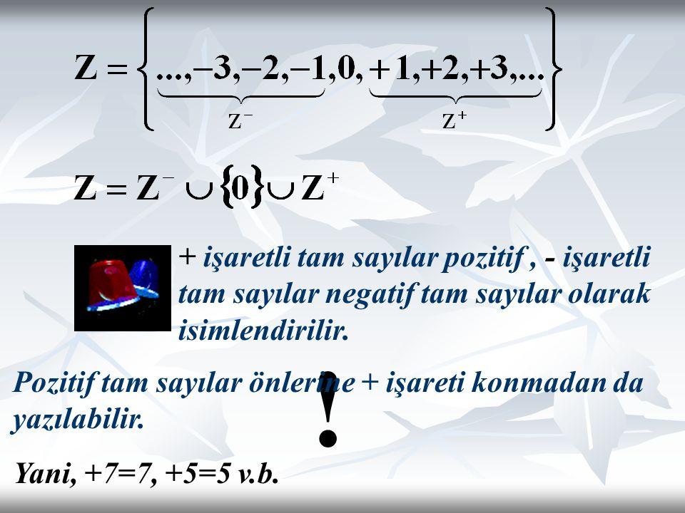 + işaretli tam sayılar pozitif , - işaretli tam sayılar negatif tam sayılar olarak isimlendirilir.