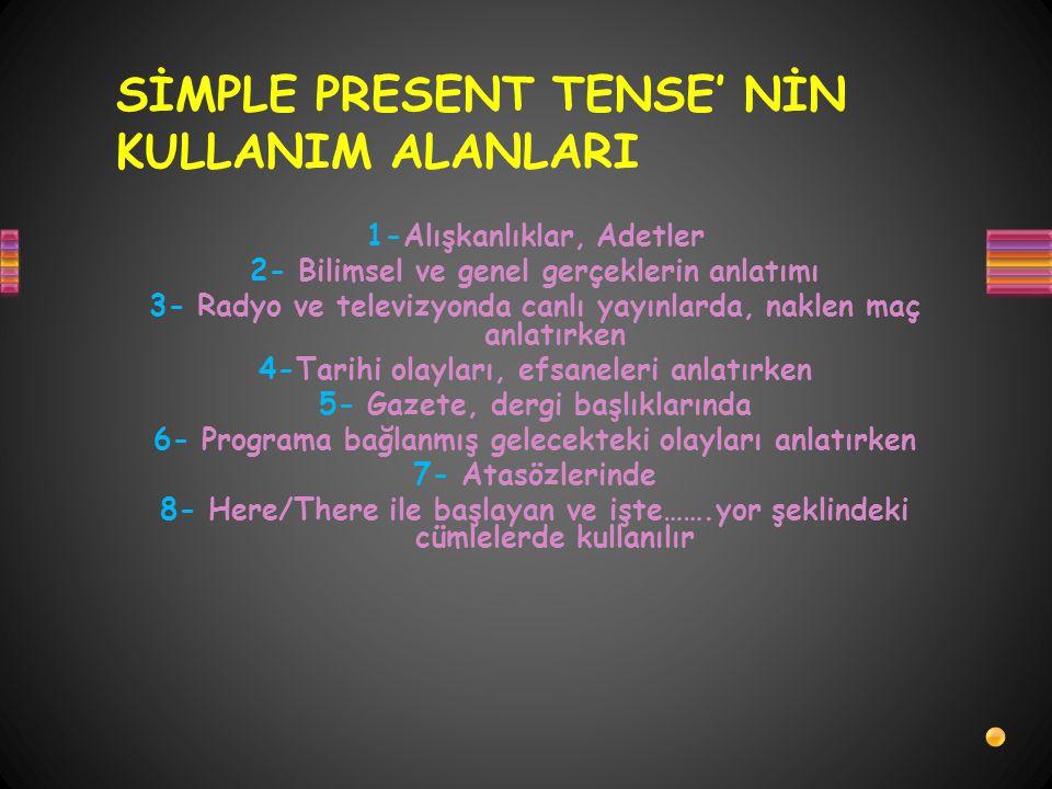 SİMPLE PRESENT TENSE' NİN KULLANIM ALANLARI