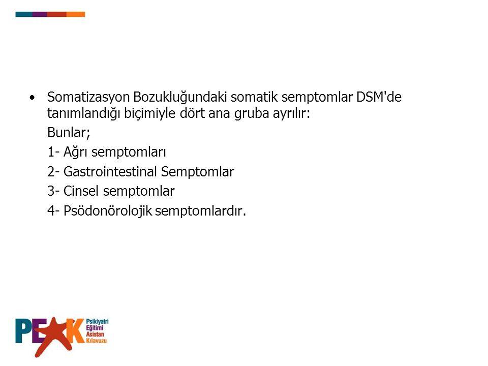 Somatizasyon Bozukluğundaki somatik semptomlar DSM de tanımlandığı biçimiyle dört ana gruba ayrılır: