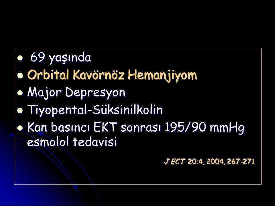 69 yaşında Orbital Kavörnöz Hemanjiyom. Major Depresyon. Tiyopental-Süksinilkolin. Kan basıncı EKT sonrası 195/90 mmHg esmolol tedavisi.