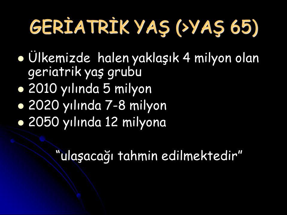 GERİATRİK YAŞ (>YAŞ 65)