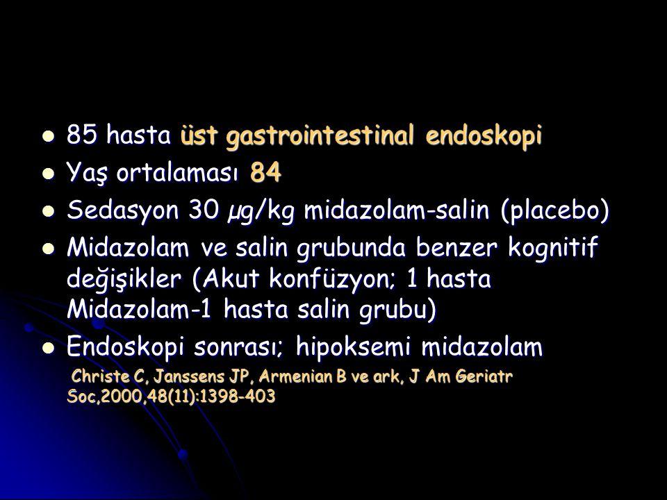 85 hasta üst gastrointestinal endoskopi Yaş ortalaması 84