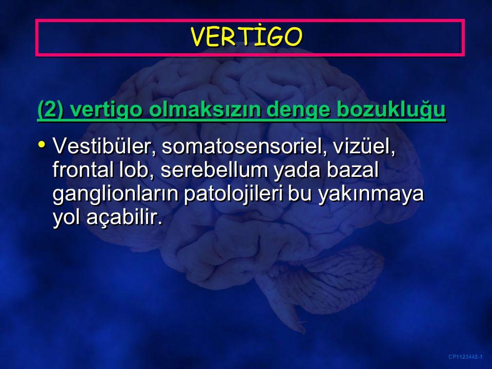 VERTİGO (2) vertigo olmaksızın denge bozukluğu