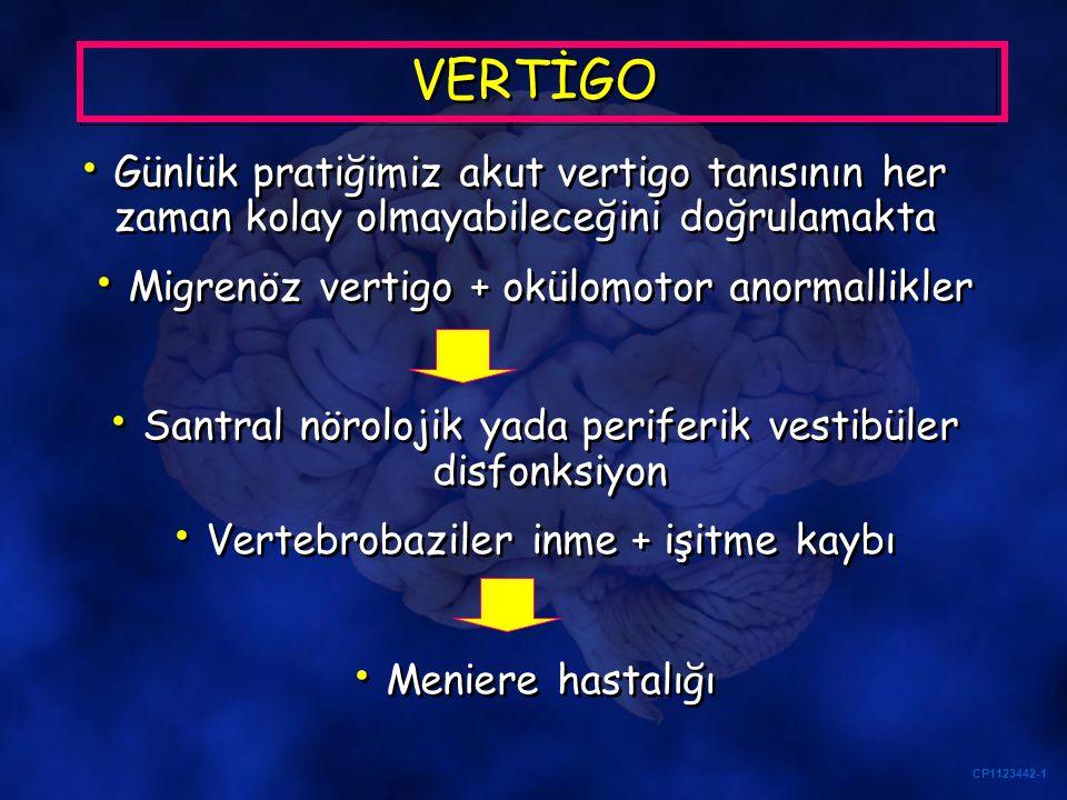 VERTİGO Günlük pratiğimiz akut vertigo tanısının her zaman kolay olmayabileceğini doğrulamakta. Migrenöz vertigo + okülomotor anormallikler.