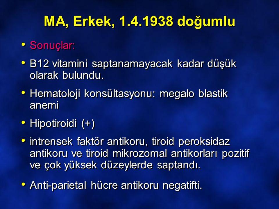 MA, Erkek, 1.4.1938 doğumlu Sonuçlar: