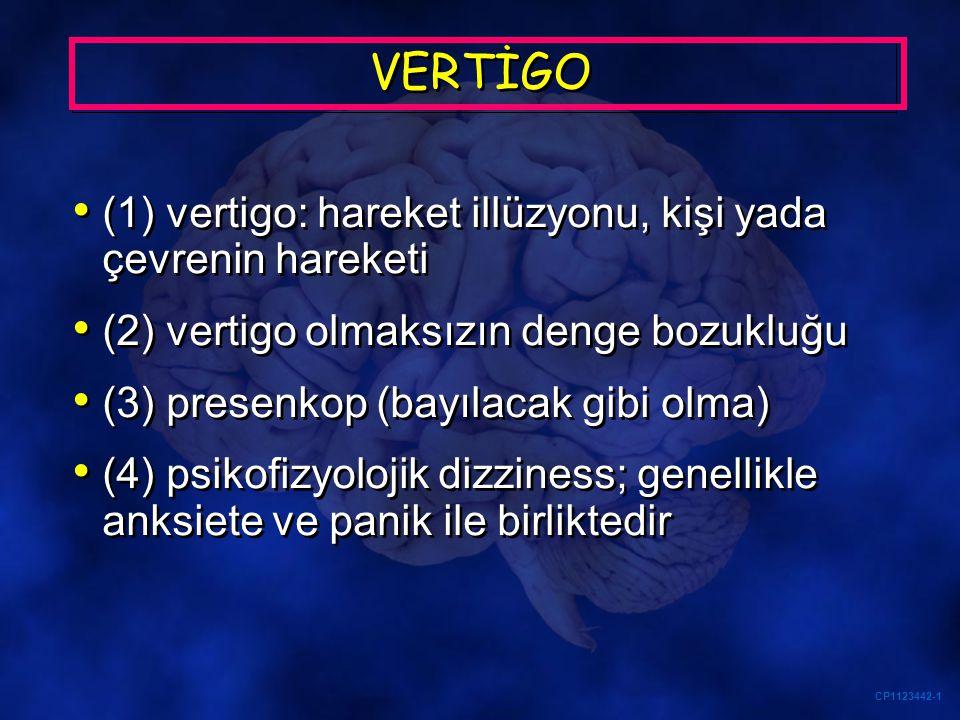 VERTİGO (1) vertigo: hareket illüzyonu, kişi yada çevrenin hareketi