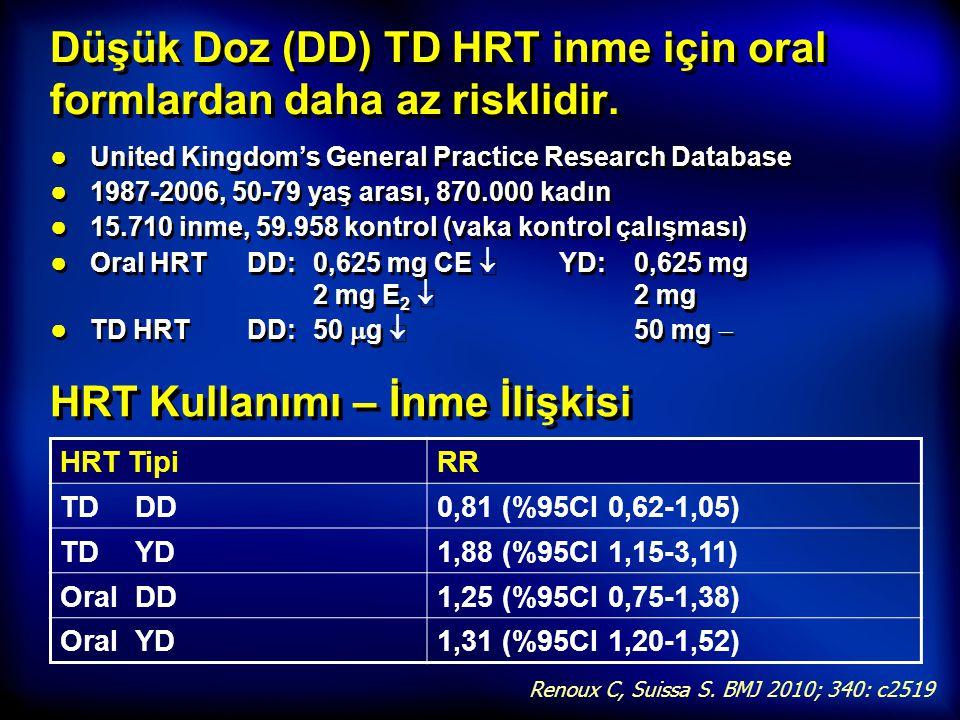 Düşük Doz (DD) TD HRT inme için oral formlardan daha az risklidir.