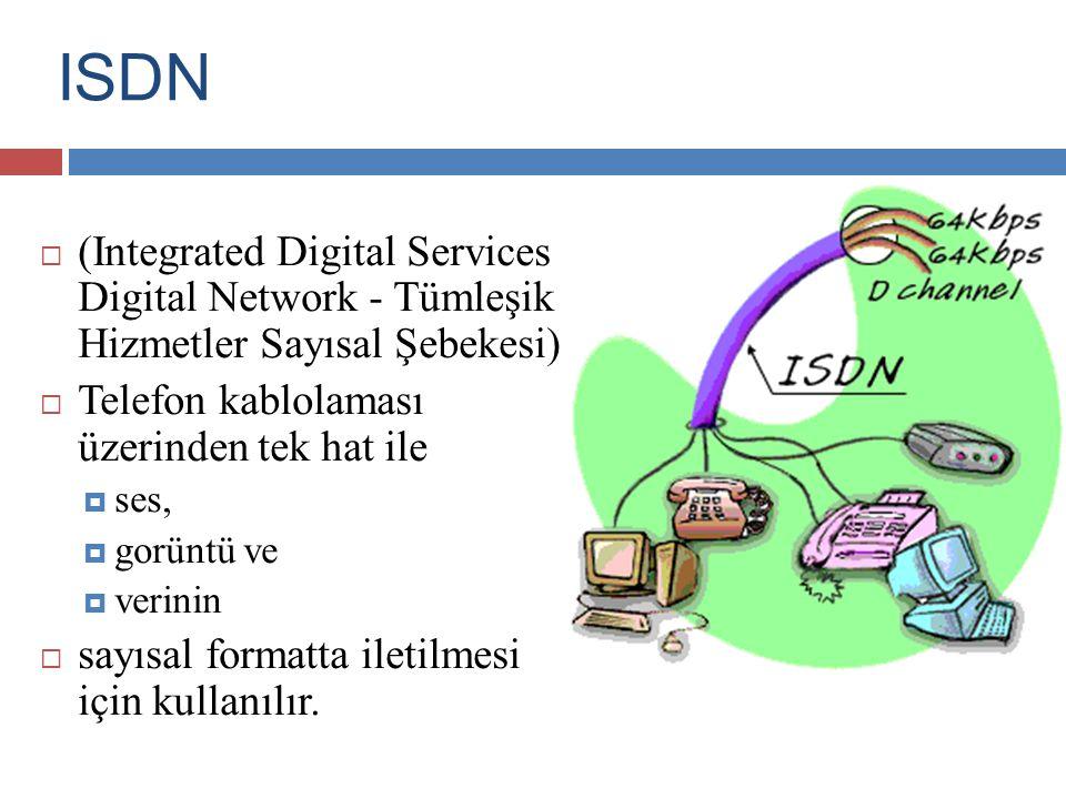 ISDN (Integrated Digital Services Digital Network - Tümleşik Hizmetler Sayısal Şebekesi) Telefon kablolaması üzerinden tek hat ile.