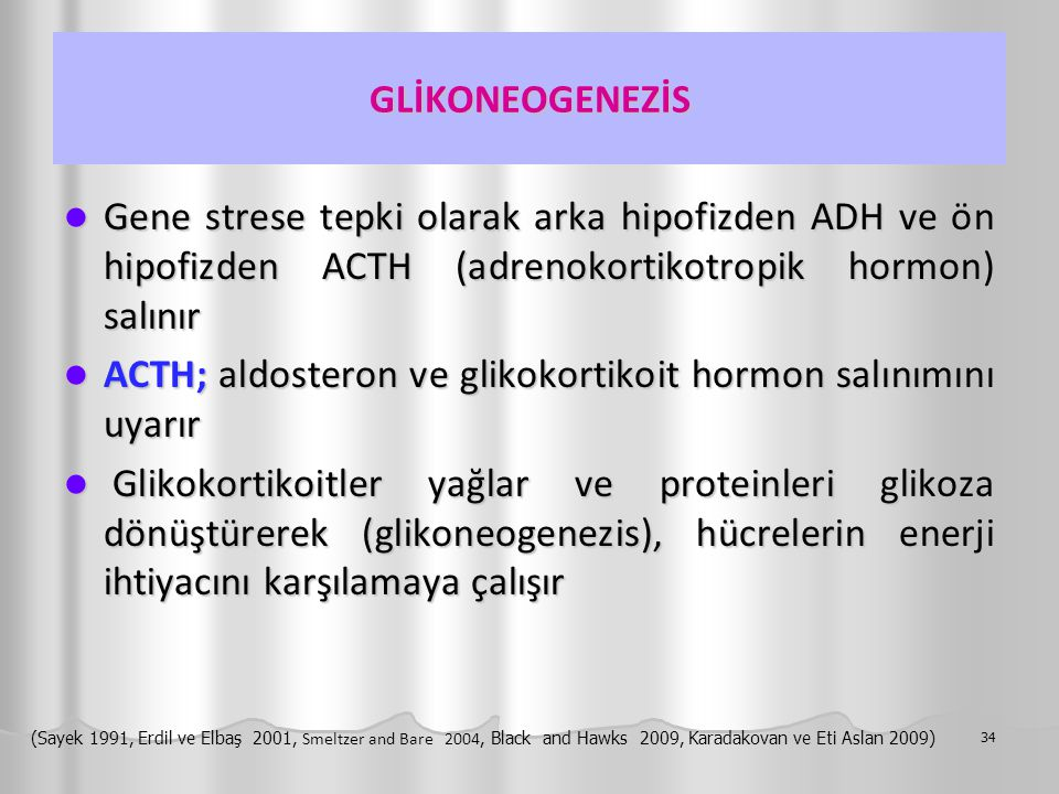 ACTH; aldosteron ve glikokortikoit hormon salınımını uyarır