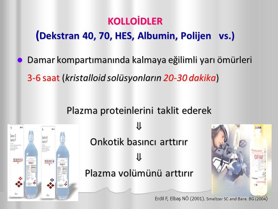 KOLLOİDLER (Dekstran 40, 70, HES, Albumin, Polijen vs.)