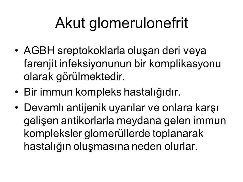 Akut glomerulonefrit AGBH sreptokoklarla oluşan deri veya farenjit infeksiyonunun bir komplikasyonu olarak görülmektedir.