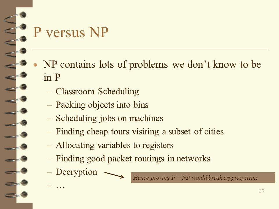 P versus NP NP contains lots of problems we don't know to be in P