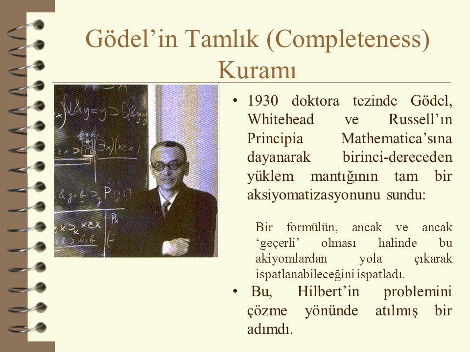Gödel'in Tamlık (Completeness) Kuramı