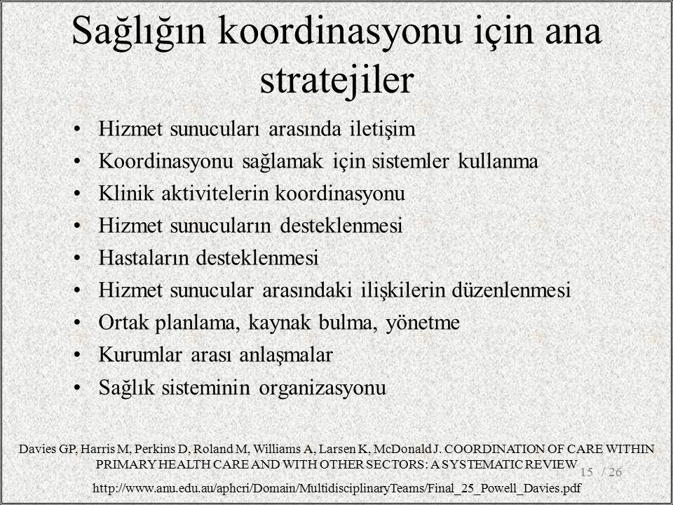 Sağlığın koordinasyonu için ana stratejiler