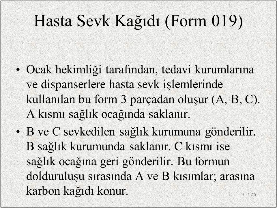 Hasta Sevk Kağıdı (Form 019)