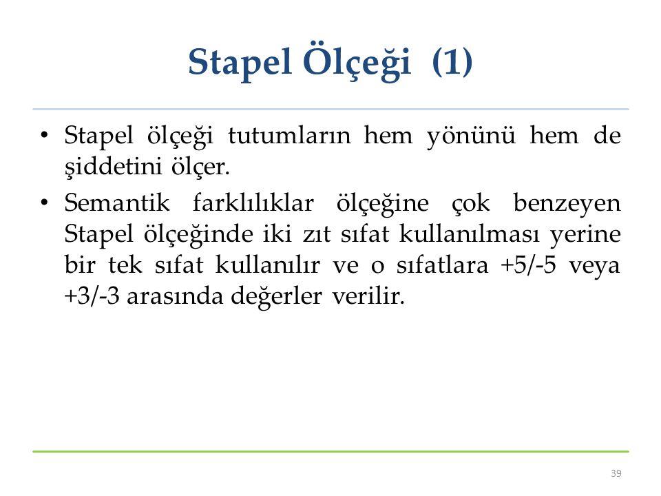 Stapel Ölçeği (1) Stapel ölçeği tutumların hem yönünü hem de şiddetini ölçer.