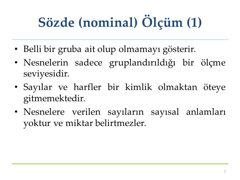Sözde (nominal) Ölçüm (1)