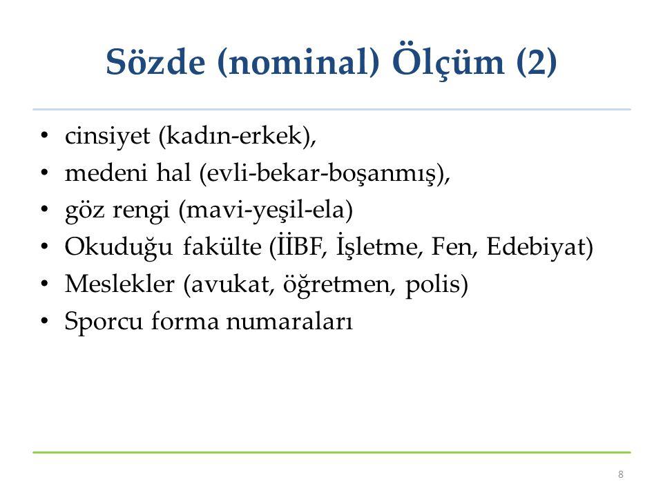 Sözde (nominal) Ölçüm (2)