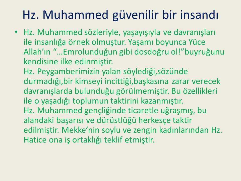 Hz. Muhammed güvenilir bir insandı