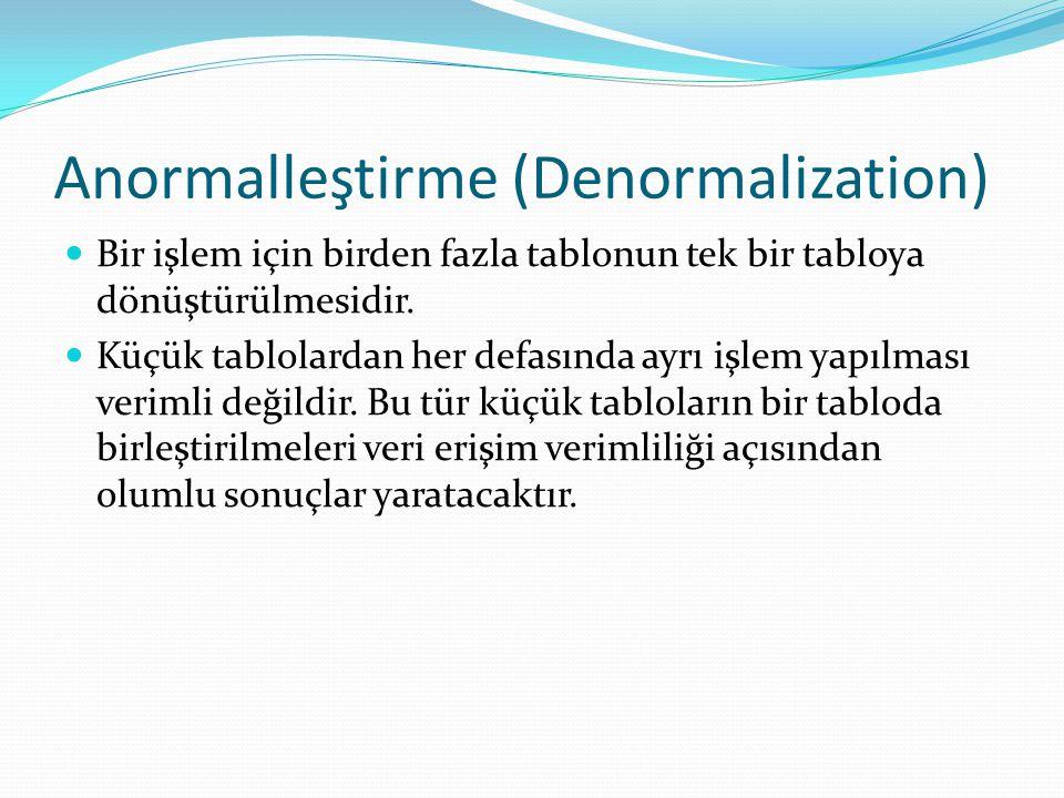 Anormalleştirme (Denormalization)