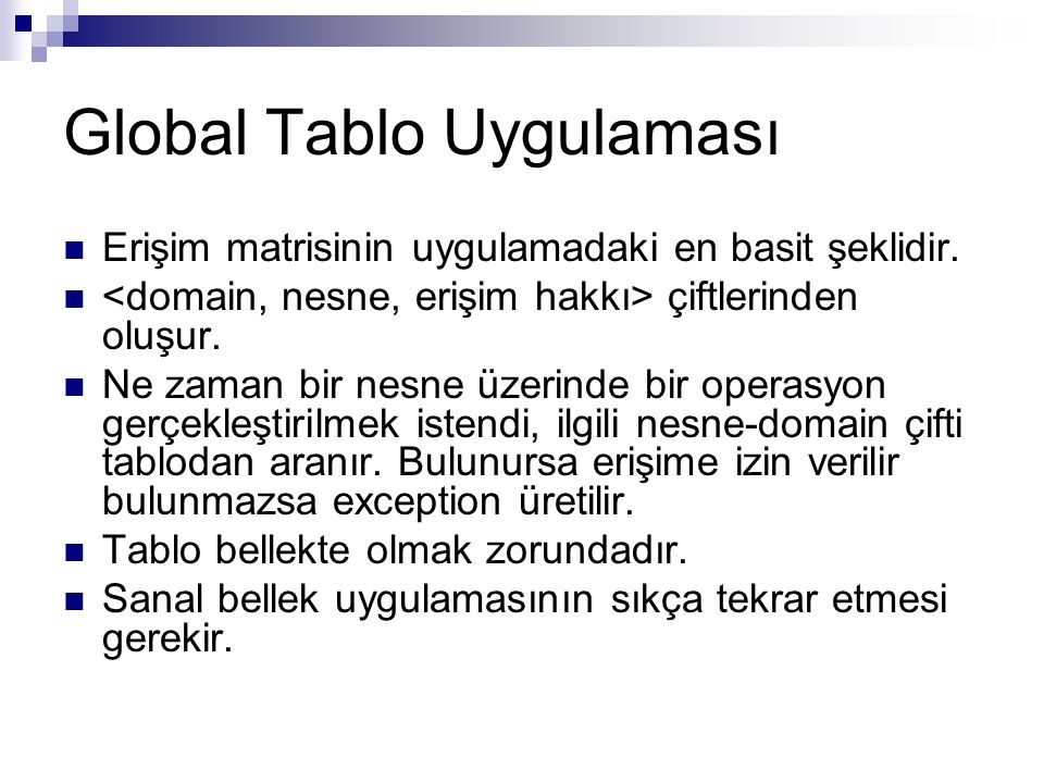 Global Tablo Uygulaması