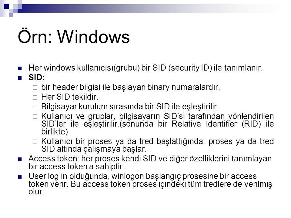 Örn: Windows Her windows kullanıcısı(grubu) bir SID (security ID) ile tanımlanır. SID: bir header bilgisi ile başlayan binary numaralardır.