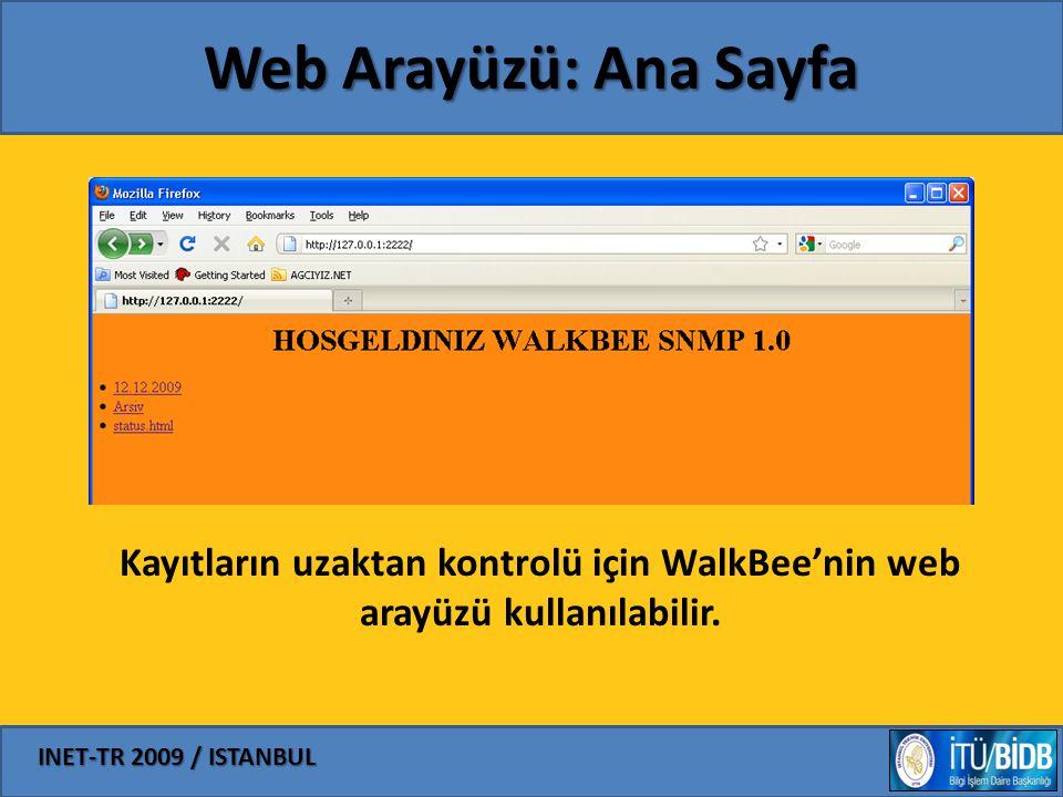 Web Arayüzü: Ana Sayfa Kayıtların uzaktan kontrolü için WalkBee'nin web arayüzü kullanılabilir.