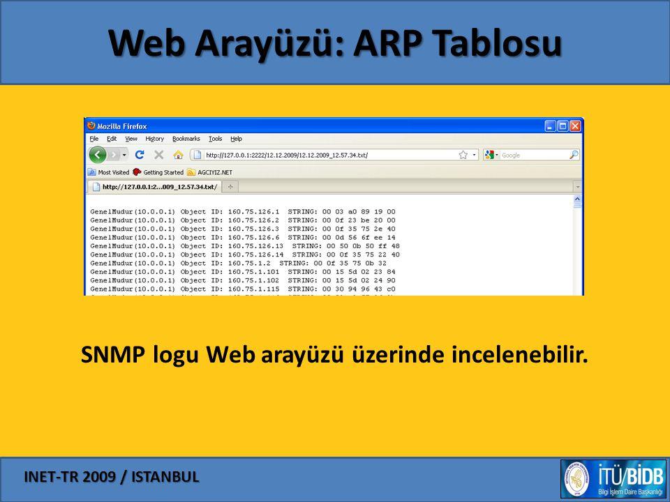 Web Arayüzü: ARP Tablosu