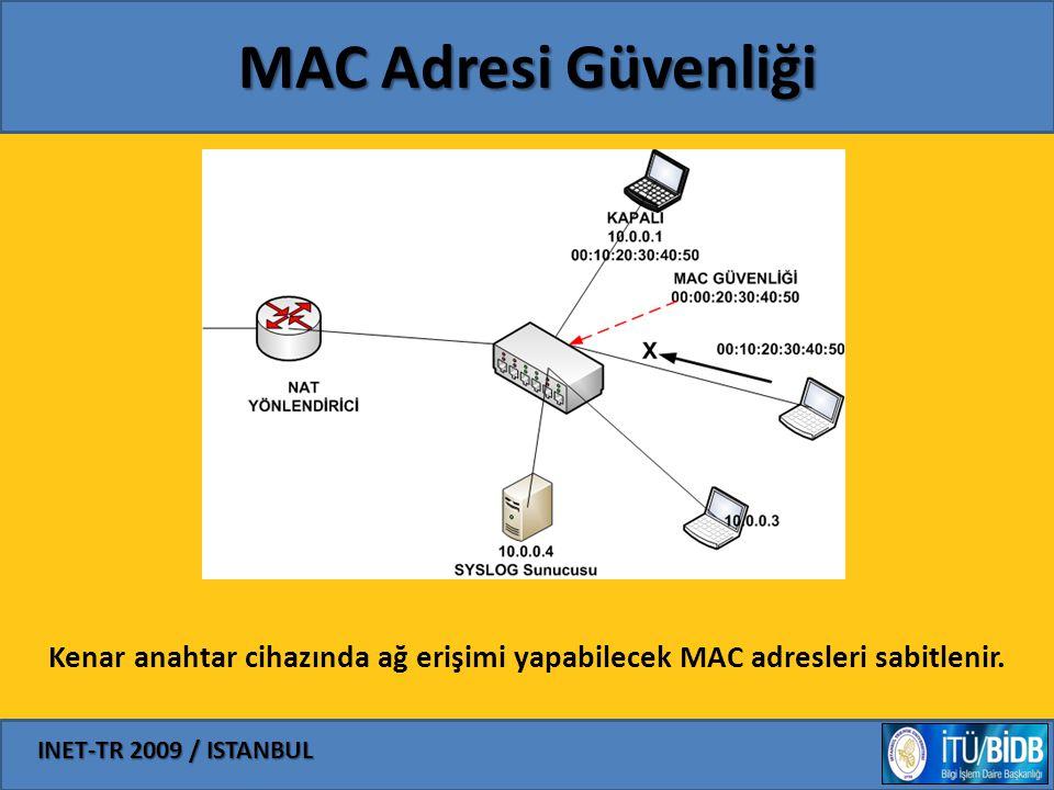 MAC Adresi Güvenliği Kenar anahtar cihazında ağ erişimi yapabilecek MAC adresleri sabitlenir.