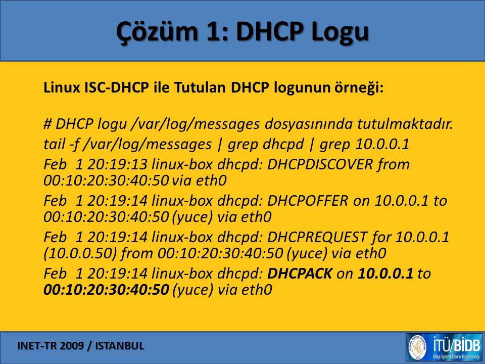 Çözüm 1: DHCP Logu Linux ISC-DHCP ile Tutulan DHCP logunun örneği: