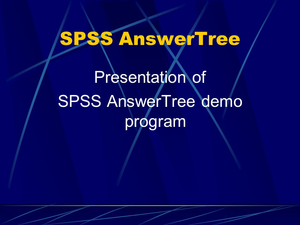 SPSS AnswerTree demo program